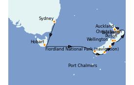 Itinéraire de la croisière Australie 2022 13 jours à bord du Emerald Princess