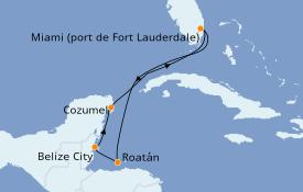 Itinéraire de la croisière Caraïbes de l'Ouest 7 jours à bord du Caribbean Princess