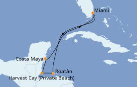 Itinéraire de la croisière Caraïbes de l'Ouest 7 jours à bord du Norwegian Encore