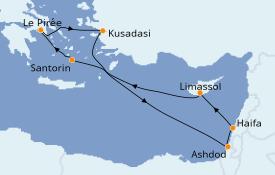 Itinéraire de la croisière Grèce & Adriatique 8 jours à bord du Norwegian Pearl