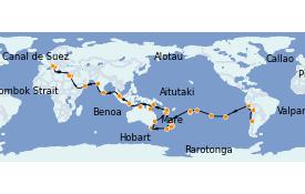 Itinéraire de la croisière Tour du Monde 2022 81 jours à bord du MSC Poesia