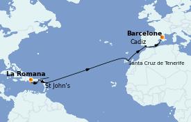 Itinéraire de la croisière Transatlantiques et Grands Voyages 2023 14 jours à bord du Costa Pacifica
