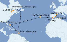 Itinéraire de la croisière Méditerranée 16 jours à bord du Seven Seas Navigator