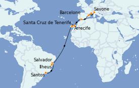 Itinéraire de la croisière Transatlantiques et Grands Voyages 2022 20 jours à bord du Costa Toscana