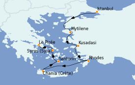 Itinéraire de la croisière Grèce & Adriatique 8 jours à bord du Nautica