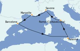 Itinéraire de la croisière Méditerranée 7 jours à bord du Costa Smeralda