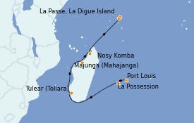 Itinéraire de la croisière Océan Indien 16 jours à bord du Le Bellot