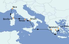 Itinerario de crucero Mediterráneo 8 días a bordo del Le Bellot