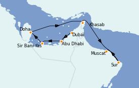 Itinéraire de la croisière Dubaï - Emirats 9 jours à bord du Le Jacques Cartier