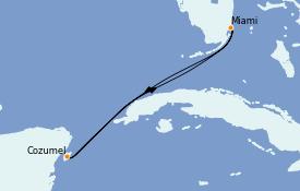 Itinéraire de la croisière Caraïbes de l'Ouest 5 jours à bord du Celebrity Silhouette