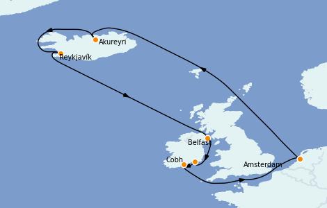 Itinéraire de la croisière Exploration polaire 12 jours à bord du Jewel of the Seas