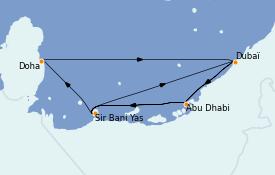 Itinéraire de la croisière Dubaï - Emirats 10 jours à bord du MSC World Europa