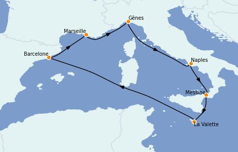 Itinéraire de la croisière Méditerranée 7 jours à bord du MSC Seaview