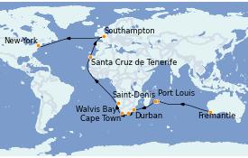 Itinéraire de la croisière Australie 2023 41 jours à bord du Queen Mary 2