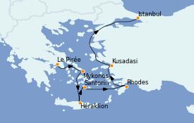 Itinéraire de la croisière Grèce & Adriatique 8 jours à bord du MS Sirena