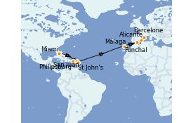 Itinéraire de la croisière Méditerranée 17 jours à bord du MSC Armonia