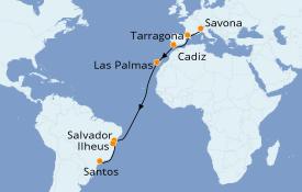 Itinéraire de la croisière Transatlantiques et Grands Voyages 2020 18 jours à bord du Costa Luminosa
