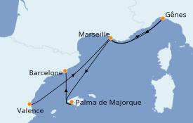 Itinéraire de la croisière Méditerranée 6 jours à bord du MSC Divina