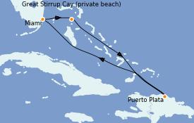 Itinéraire de la croisière Caraïbes de l'Est 6 jours à bord du Norwegian Encore