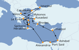 Itinéraire de la croisière Grèce & Adriatique 15 jours à bord du Celestyal Crystal