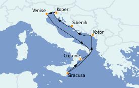 Itinéraire de la croisière Méditerranée 12 jours à bord du Seabourn Quest