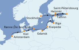 Itinéraire de la croisière Mer Baltique 13 jours à bord du Azamara Quest