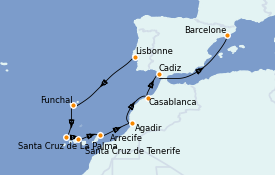 Itinéraire de la croisière Îles Canaries 11 jours à bord du Seven Seas Voyager