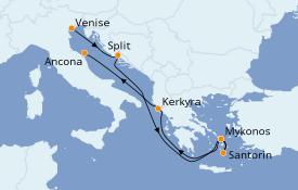 Itinéraire de la croisière Grèce & Adriatique 7 jours à bord du MSC Opera