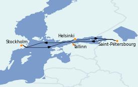 Itinéraire de la croisière Mer Baltique 8 jours à bord du Costa Favolosa