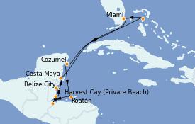 Itinéraire de la croisière Caraïbes de l'Ouest 11 jours à bord du MS Riviera