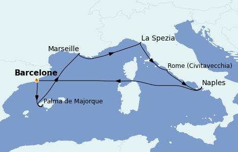 Itinéraire de la croisière Méditerranée 7 jours à bord du Wonder of the Seas
