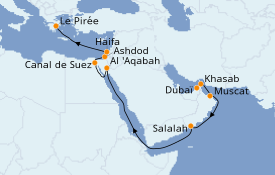 Itinéraire de la croisière Dubaï - Emirats 17 jours à bord du Silver Spirit