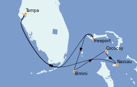 Itinéraire de la croisière Bahamas 8 jours à bord du Serenade of the Seas