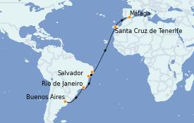 Itinerario de crucero Trasatlántico y Grande Viaje 2023 16 días a bordo del Costa Favolosa