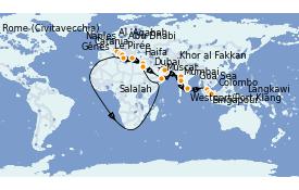 Itinéraire de la croisière Transatlantiques et Grands Voyages 2021 35 jours à bord du Costa Firenze