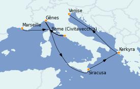 Itinerario de crucero Mediterráneo 8 días a bordo del MSC Musica