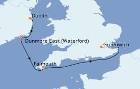 Itinéraire de la croisière Îles Britanniques 6 jours à bord du Silver Whisper