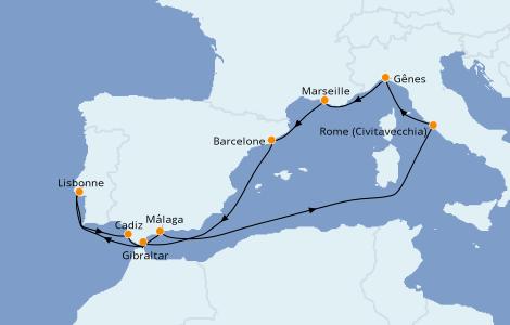 Itinéraire de la croisière Méditerranée 10 jours à bord du MSC Poesia