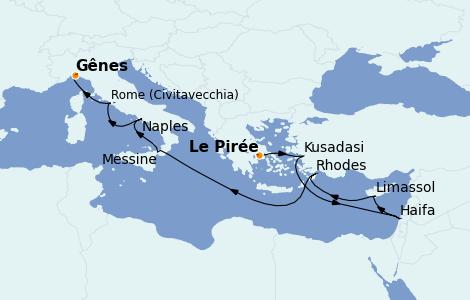 Itinéraire de la croisière Méditerranée 10 jours à bord du MSC Lirica