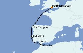 Itinéraire de la croisière Méditerranée 11 jours à bord du Queen Elizabeth