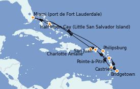 Itinéraire de la croisière Caraïbes de l'Est 13 jours à bord du ms Volendam