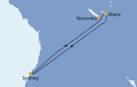 Itinéraire de la croisière Australie 2021 8 jours à bord du Carnival Splendor