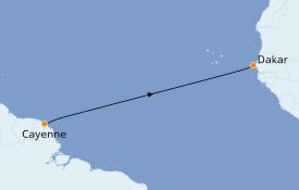 Itinéraire de la croisière Afrique 9 jours à bord du Le Dumont d'Urville