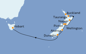 Itinéraire de la croisière Australie 2021 11 jours à bord du ms Oosterdam