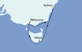 Itinéraire de la croisière Australie 2023 9 jours à bord du Radiance of the Seas