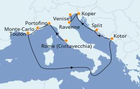 Itinéraire de la croisière Méditerranée 13 jours à bord du Pacific Princess