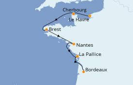 Itinéraire de la croisière Atlantique 6 jours à bord du Jules Verne