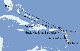 Itinéraire de la croisière Caraïbes de l'Est 11 jours à bord du MS Riviera