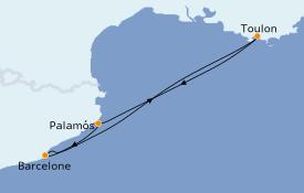 Itinéraire de la croisière Méditerranée 4 jours à bord du Azamara Quest