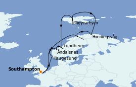 Itinerario de crucero Fiordos y Noruega 15 días a bordo del Island Princess